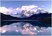 Lake in Himalayas with snow-capped peaks